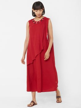 Vedic Women Red Solid A-Line Dress