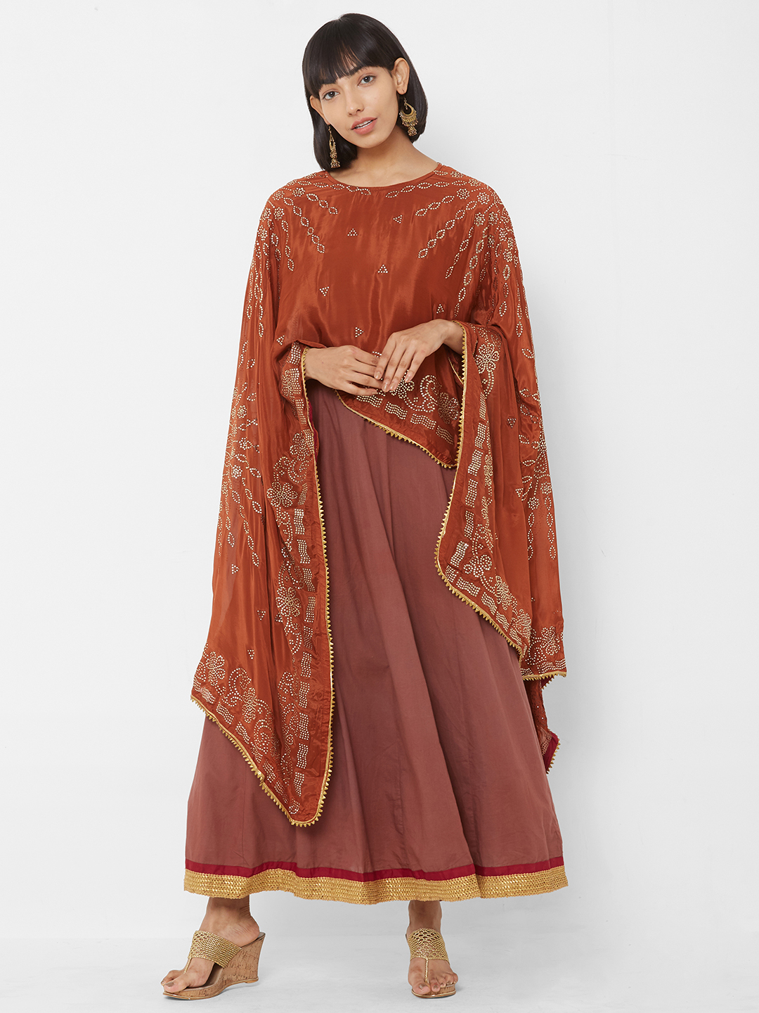 Women Brown & Gold Embellished Maxi Dress With Cape