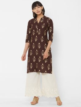 Women Brown & Gold-Coloured Floral Foil Printed Straight Kurta