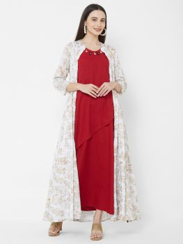 Vedic Women White & Gold Coloured Printed Jacket
