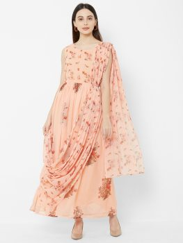 Women Peach-Coloured Printed Maxi Dress With Attached Dupatta