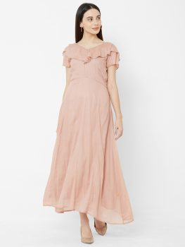 Women Peach-Coloured Solid Hand Worked Maxi Dress