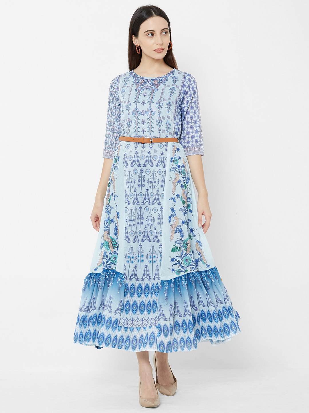 Women Blue Printed Fit And Flare Dress