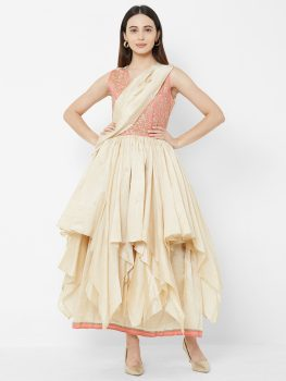 Vedic Women Pink & Cream-Coloured Embroidered Fit and Flare Dress