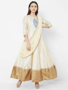 Women Cream & Gold Floral Print Maxi Dress With Attached Dupatta