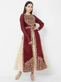 Women Maroon & Gold Embroidered Maxi Dress