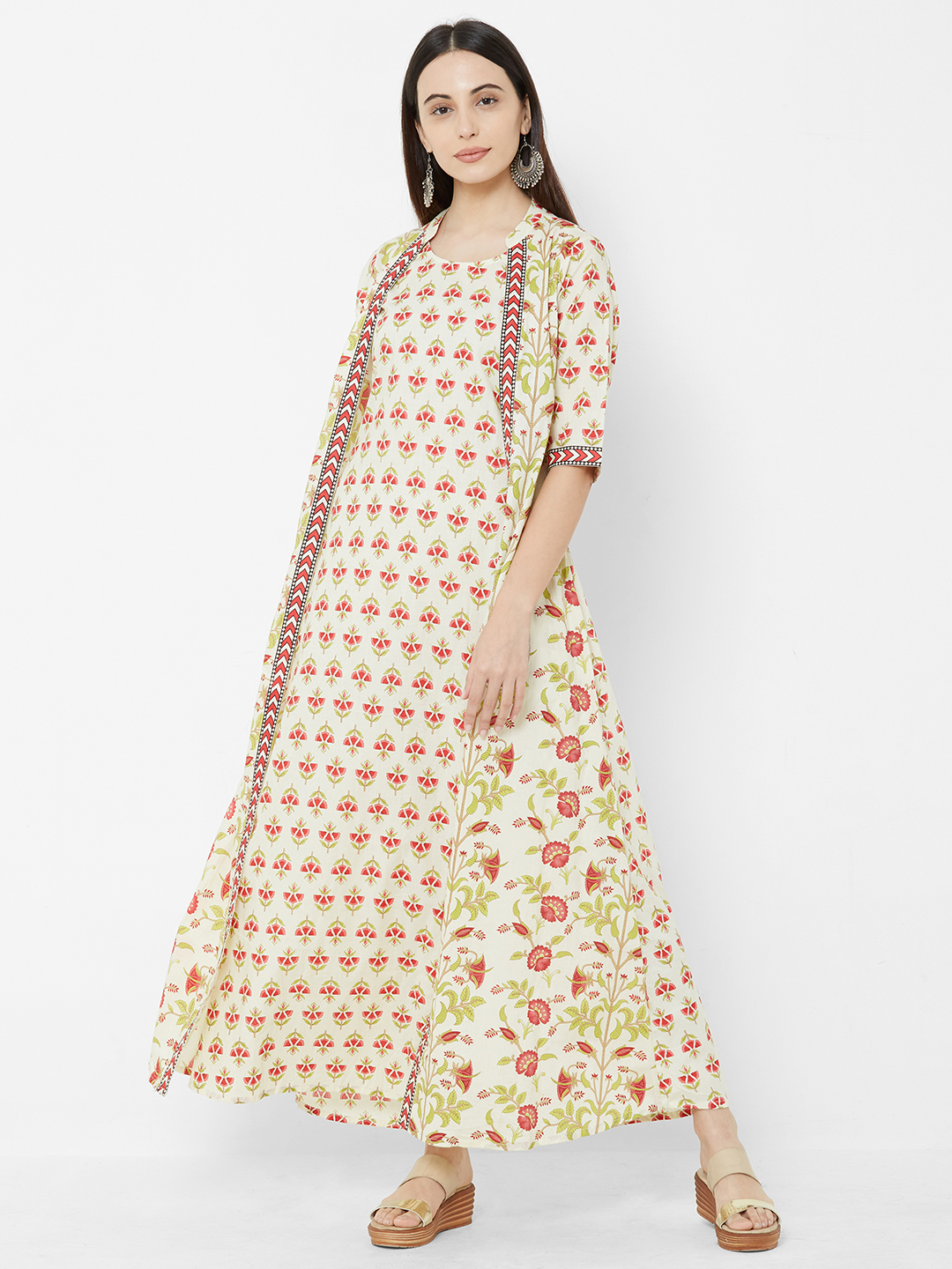 Women Off-White & Red Floral Printed A-Line Kurta Dress