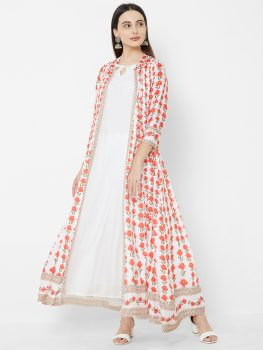 Vedic Women White & Red Coloured Printed Jacket