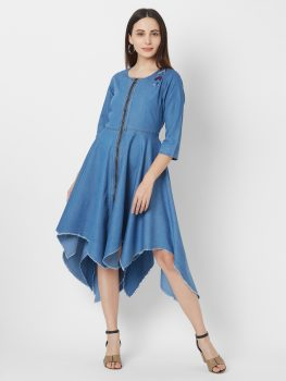 Vedic Women Blue Solid Fit and Flare Dress