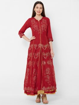 Women Red & Gold Floral Print Layered Maxi Dress