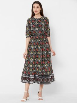 Vedic Women Black Printed Fit and Flare Dress
