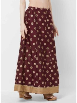 Maroon & Gold-Coloured Printed Flared Maxi Skirt