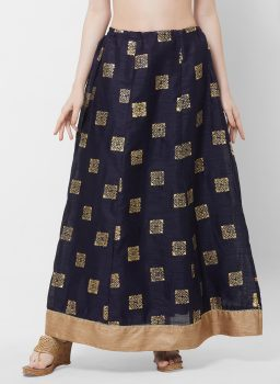 Navy Blue & Gold-Coloured Printed Flared Maxi Skirt
