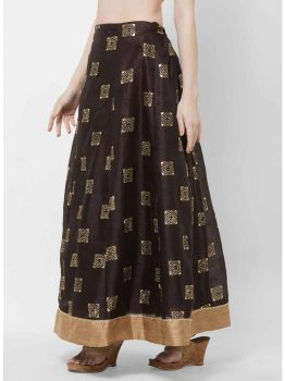 Brown & Gold-Coloured Printed Flared Maxi Skirt
