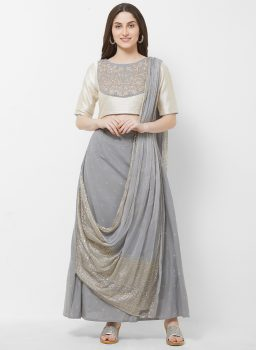 Vedic Women Grey & Gold-Toned Embroidered A-Line Kurta With Attached Dupatta