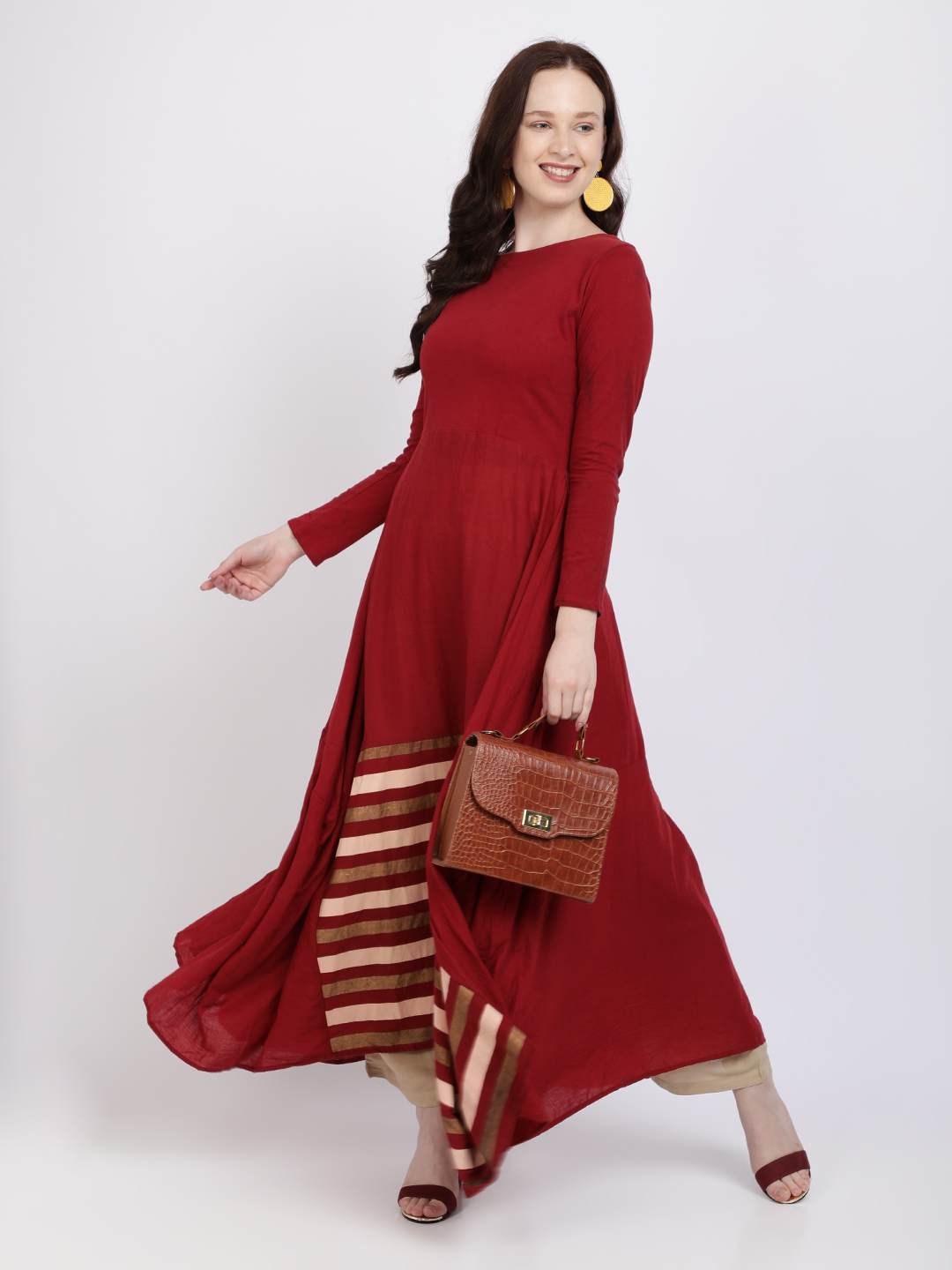 Women Maroon Coloured A-Line Gown